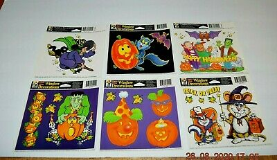 $ CDN16.35 • Buy Vintage HALLOWEEN COLOR WINDOW CLINGS FRANKENSTEIN, CATS, WITCH, LOT FREE SHIP