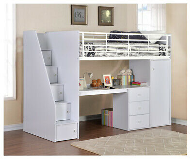 Dakota Kids High Sleeper Cabin Bed | Storage Steps, Desk + Wardrobe | 3ft Single • 587.13£