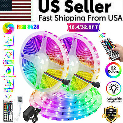 $13.89 • Buy 16FT 32FT Waterproof Flexible 3528 RGB LED SMD Strip Light Remote Room Party 300