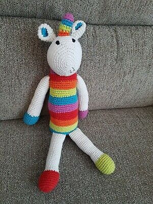 Fairtrade PEBBLE Knitted Rainbow Unicorn Striped Soft Toy Rattle Teddy Comforter • 9.99£