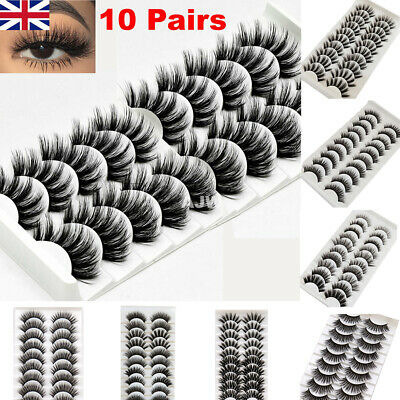 10 Pair 3D Mink False Eyelashes Wispy Cross Long Thick Soft Fake Eyelashes UK • 3.99£