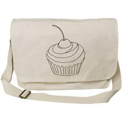 'Cherry Cupcake' Cotton Canvas Messenger Bags (MS023789) • 14.99£