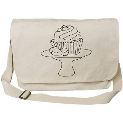 'Cupcake On Stand' Cotton Canvas Messenger Bags (MS023491) • 14.99£