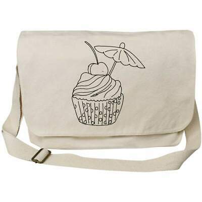 'Cherry Cupcake' Cotton Canvas Messenger Bags (MS023233) • 14.99£