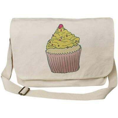 'Yellow Cupcake' Cotton Canvas Messenger Bags (MS022629) • 14.99£