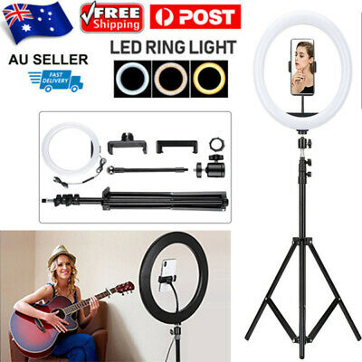 AU31.98 • Buy 12 LED Ring Light Lamp Stand Kit Dimmable Photo Studio Selfie Phone Live Makeup