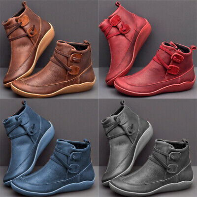 Women Winter Arch Support Ankle Boots Ladies Lace Up Casual Flat Shoes Sizebe015 • 12.83£