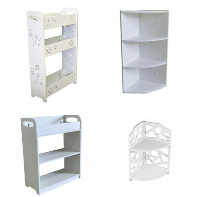 White Wooden Storage Shelf Bathroom Kitchen Shower Organizer Caddy Racks Storage • 8.99£