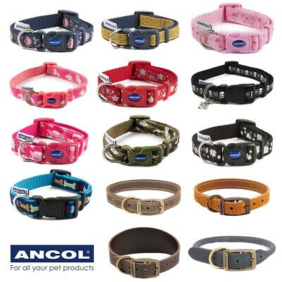 £11.25 • Buy ANCOL™ NYLON & LEATHER DOG COLLARS Small-Large Adjustable Patterned Walking Lead