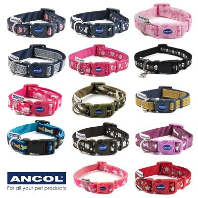 ANCOL™ NYLON DOG COLLARS & LEADS Adjustable Puppy Pet Colourful Snap Buckle UK • 5.65£