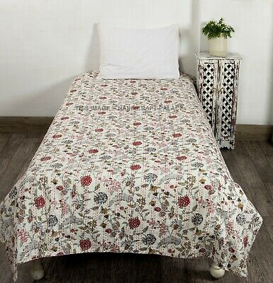 Indian Hand Block Kantha Twin Size Quilt Cotton Floral Bedspread Blanket Throw • 25.99£