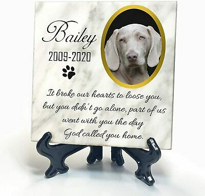 Pet Memorial White Marble Plaque Cat Dog Paw Photo Grave Marker Personalised • 8.99£