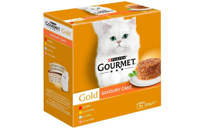 Gourmet Gold Cat Food Savoury Cake Meat And Fish, 8x85g • 8.99£