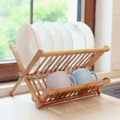 2Tier Bamboo Wooden Dish Drainer Plate Rack Sink Tidy Easy Storage Drier Folding • 9.99£