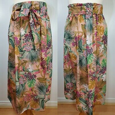 £17.99 • Buy M&S Beige Tropical Floral High Waist Flared Skirt Midi Holiday Summer Size 14