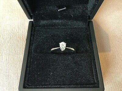 0.5 Carat Diamond Pear Cut Engagement Ring With Platinum Finish Size L & Half • 55£