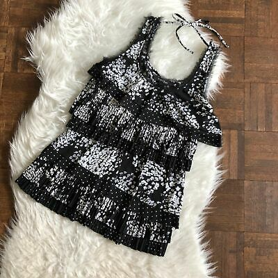 $ CDN15.99 • Buy WHBM White House Black Market XS Sleeveless Tiered Fringed Blouse