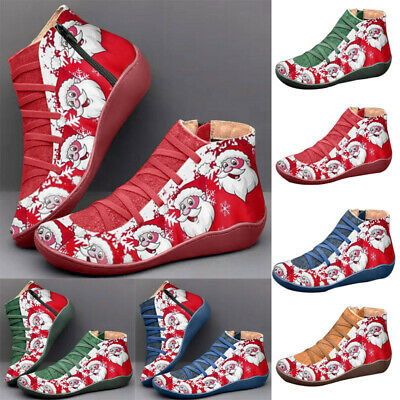Women Christmas Arch Support Ankle Boots Santa Claus Flat Heel Casual Shoes Size • 9.89£