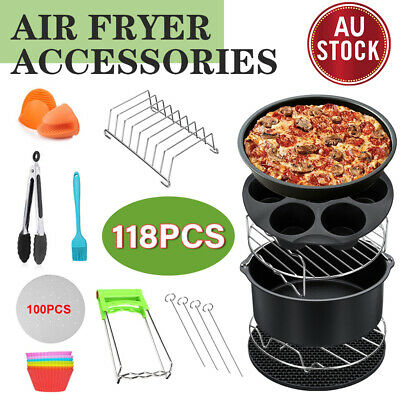 AU28.98 • Buy Air Fryer Accessories 8 Inch Frying Cage Dish Baking Pan Rack Pizza Tray Pot AU