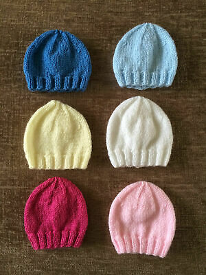 Hand Knitted Premature And Newborn Baby Beanie Hats Choice Of 6 Colours • 2.99£