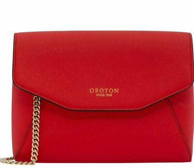 AU149 • Buy RED Oroton Estate Med Evelope Crossbody Shoulder Bag Saffiano Leather Cross Body