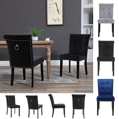 £66.90 • Buy 1/2x Velvet Dining Chair With Knocker/Ring Back Kitchen Chairs Upholstered Seat