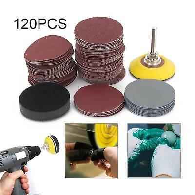 £8.49 • Buy 50MM 120PCS Sanding Discs Pad Kit For Drill Grinder Rotary Tools + Backing Pad