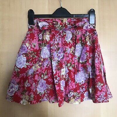 £3 • Buy New York Laundry Red Floral Skirt Size 8 Topshop Concessions