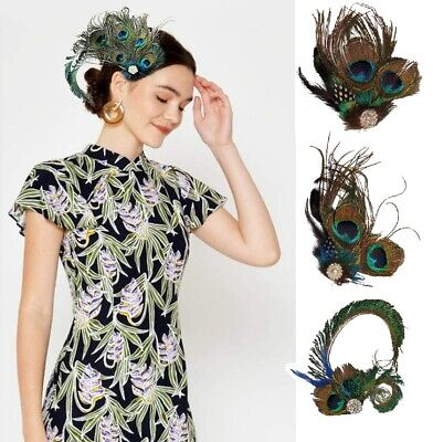 Peacock Feather Fascinator Hair Clip Wedding 20's Gatsby Party Vintage Headpiece • 5.99£