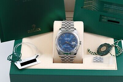$ CDN15667.44 • Buy Rolex Datejust 41 Blue Roman Jubilee Aug 2020 Box/Papers/New Style Card 126334