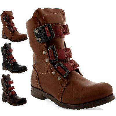 Womens Fly London Stif Pull On Buckle Military Biker Leather Ankle Boots UK 3-9 • 129.99£