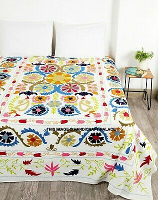 Indian Suzani Bed Cover King Size Bedspread Coverlet Boho Throw Bedding Blanket • 79.99£