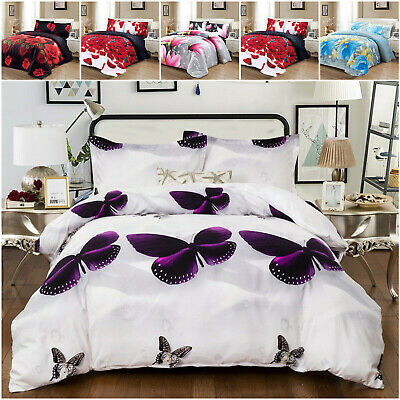 £20.99 • Buy 3D Animal Print Duvet Cover Set With Fitted Sheet Single Double Quilt Bedding