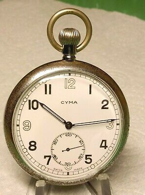 WW2 Cyma Cal 775 British Military G.S.T.P.  Pocket Watch  Fully Serviced. GC • 94£