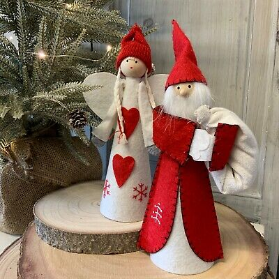 Felt Father Christmas Tree Top Angel Fairy Fun Gisela Graham Decoration Topper • 7.99£