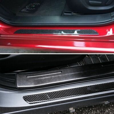 $34.87 • Buy Car Stickers Parts Accessories Carbon Fiber Door Sill Protector Scuff Plate Trim