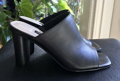 AU39 • Buy Nine West Black Leather High Heel Slides 7.5M