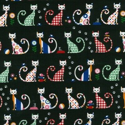 £8.15 • Buy 100% Cotton Fabric Nutex Felix The Cat Floral Paw Prints Kitten Cats