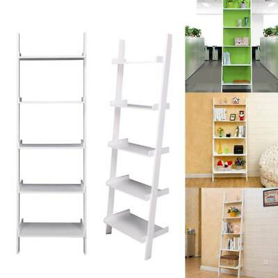 White 5 Tier Unit Ladder Wall Shelf Display Bookcase Stand Bedroom Home Storage • 39.99£