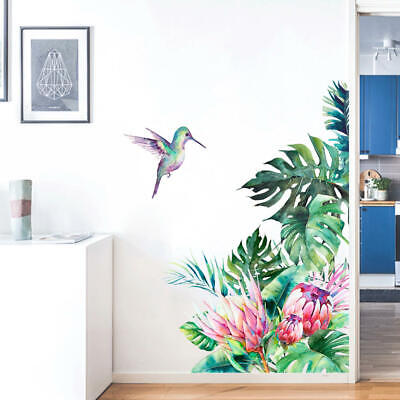 Tropical Leaves Flowers Bird Wall Sticker Living Room Wallpaper Home Wall Decal • 6.62£
