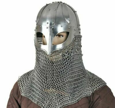 Battle Ready Viking Spectacle Helmet With Chainmail Aventail 16G Steel SCA LARP • 45.58£