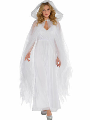 Ladies White Temptress Hooded Cape Halloween Fancy Dress Costume Outfit Ghost • 12.99£