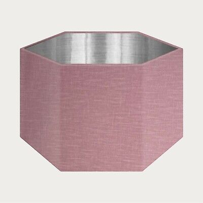 £49.50 • Buy Mauve 100% Textured Linen Fabric Brushed Silver Rounded Hexagon Lampshade