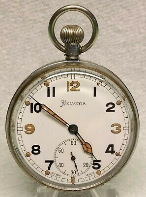 HELVETIA 1940s WW2 MILITARY GS/TP BRITISH  POCKET WATCH FULLY SERVICED VGC • 95£