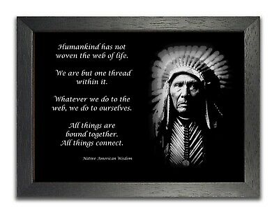 Native American Wisdom Humankind Quote Black & White Large Plakat Poster Print • 7.99£