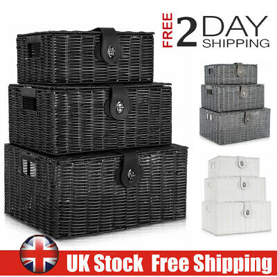 Set Of 3 Resin Wicker Willow Storage Baskets With LINING Lid & Lock Gift Hamper • 13.99£