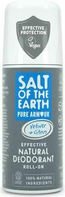 £7.19 • Buy Natural Deodorant Roll On For Men By Salt Of The Earth, Pure Armour -...