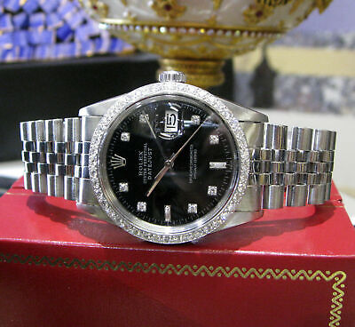 $ CDN6336.26 • Buy Mens Vintage ROLEX Oyster Perpetual Datejust 36mm Black Color Diamond Dial Watch