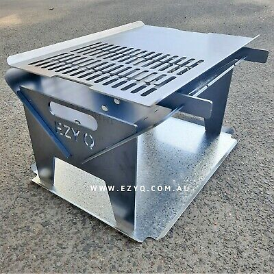 AU200 • Buy 5MM THICK, Flat Pack Fire Pit & Stainless Steel Grill (500mm Long) Portable BBQ