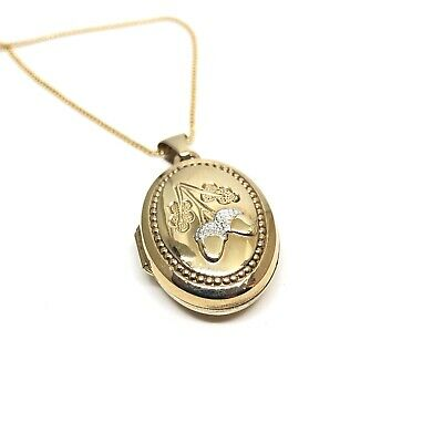 Vintage 9ct Gold Acorn Engraved Locket On 9ct Gold Chain • 149£